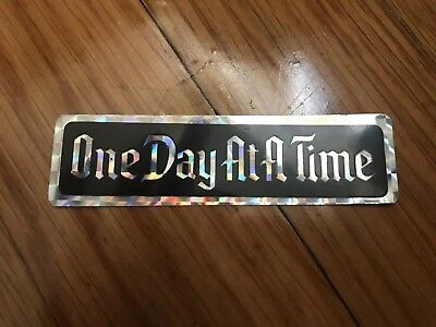 """Vintage AA Alcoholics Anonymous Recovery Sticker 3""""x1"""" Shiny """"One Day At A Time"""""""