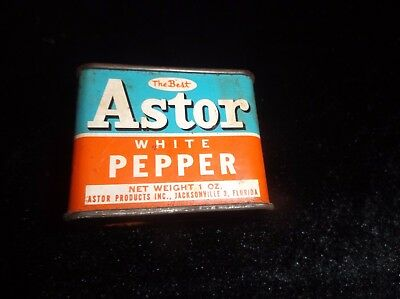 Old Antique Vintage Collectible ASTOR Brand White Pepper Kitchen Decor Tin Can