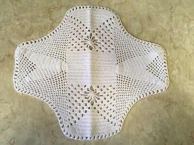 "Vintage Crochet Doily - White - 12"" By 10"""