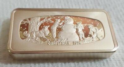 The Fifth Franklin Mint Christmas ingot (1974) 1000 grains of silver