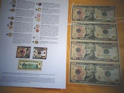 $10 UNCUT SHEET 4 -$10x4 Legal USA 10 DOLLAR-Real Currency Note Rare gift  Money
