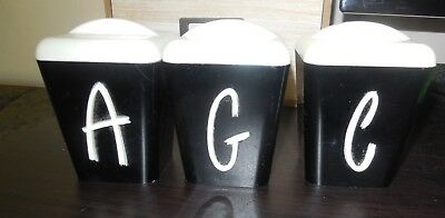 Collectable Retro Vintage Set of 3 KITCHEN SPICE CANISTERS Black & white Gayware
