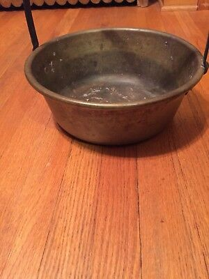 A LARGE Vintage Brass Kettle/Planter/Pot with Iron Handle