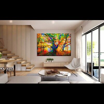Nik Tod Original Painting Large Sign Art Texture Colors Amazing Abstract Tree Uk