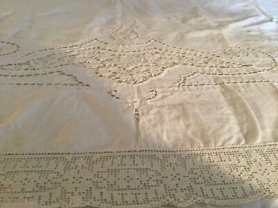 """French Antique  Sheet /Pillowcases. Embroidered Cutwork Linen Cotton 69"""" x 96"""""""