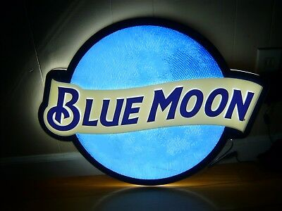 Authentic Bluemoon Blue moon  Beer Round LED Neon bar sign (23 x 18 x 1.5 inch )