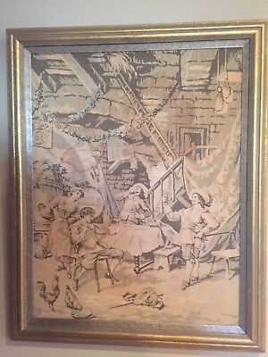 Antique Tapestry Framed Pub Scene  w/ Cavaliers Drinking And Barmaid
