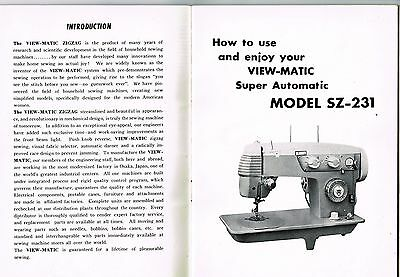 VINTAGE STERLING SEWING MACHINE MANUAL Viewmatic Super De Luxe Automatic Zigzag