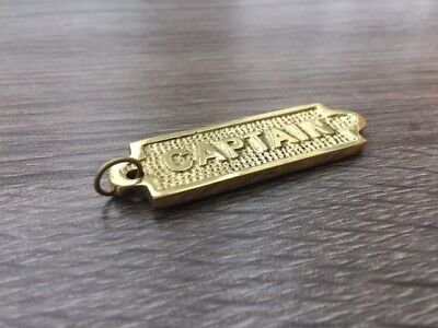 Brass Captain Sign - Necklace Pendant - Old Antique Vintage Style - Nautical
