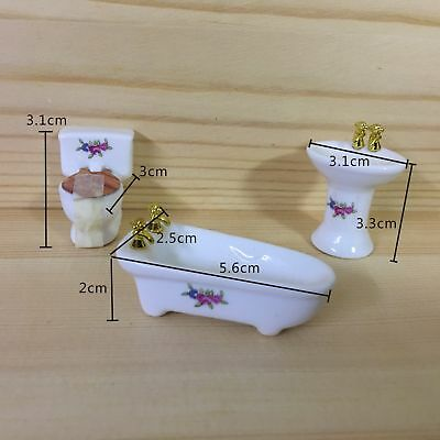 3PCS 1/24 Dollhouse Miniature Bathroom Set Porcelain Bathtub Toilet Sink Grass