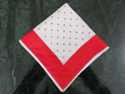 "Vintage Hankie/handkerchief - Off White - Red Polka Dots - 10"" By 10"""