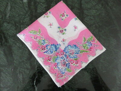 "Vintage Hankie/handkerchief -Foral - Pink - Blue - White - 12"" By 11"""
