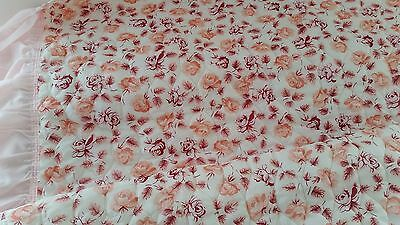 Vintage 1960s PINK CREAM Rose Print Frilled Edge Nylon GIRLS SINGLE Bedspread
