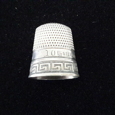Antique Sterling Silver Thimble #10 & SC w/Fouled Anchor & Greek Key Design