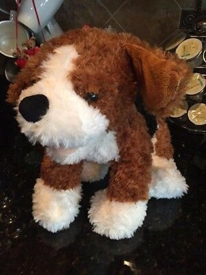 Build a Bear Brown Black and White Puppy Dog Barks Wags Tail Animated Plush