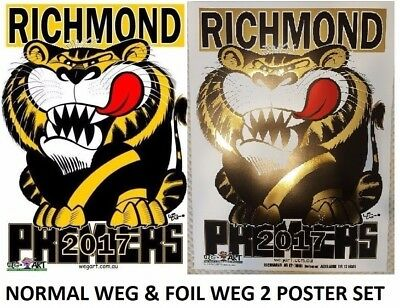 2017 Richmond Tigers WEG Wegart FOIL Premiership Poster & Normal WEG Poster SET