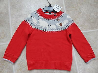 Mini Boden Baby boden cashmere/cotton sweater.Explorer Red Polar Bears NWT 6-12m