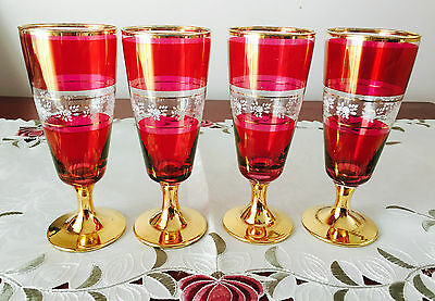 Vintage Retro Set Of 4 Ruby, Gold & White Floral Design Footed Wine Glasses