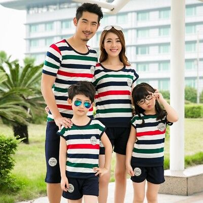 Summer Family Matching Outfits 2 Pieces Set Striped Short T-shirt +Short Pants