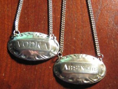 2  LIQUOR DECANTER LABELS / TAGS sterling silver