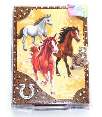 Lockable Diary - Horse Diary - New - Diary with Lock Horses Journal Note Book