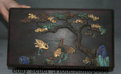 """12"""" Chinese Redwood Wood Dynasty Carved PIne Tree Crane Cranes Jewelry Box Boxes"""