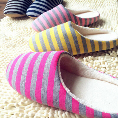 AU Womens Mens Unisex Anti-slip Slippers Cotton Striped Sandals House Home Shoes