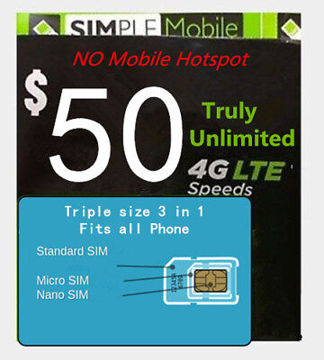 Simple Mobile Preload 1st month $50 Truly Unlimited Data Plan (T-mobile Network)