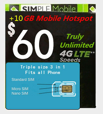 Simple Mobile Preload 1st month $60 Truly Unlimited Data Plan (T-mobile Network)