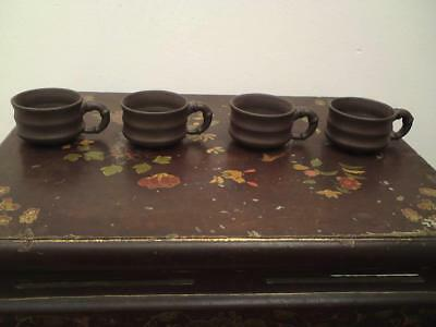Set of four Chinese Yixing bamboo shaped tea cup signed perfect