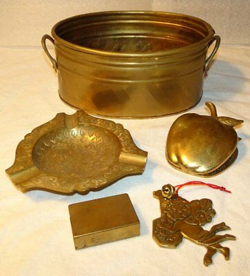 Vintage Brass Lot Angel Ornament Apple Clip Hosley Pot Match Box Ashtray