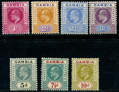 Gambia 1904 KEVII from SG 58-66 Mint lightly hinged LH OG High $