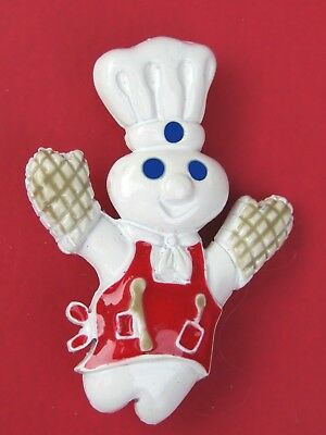 NEW 1996 Pillsbury Doughboy Chef w Red Apron Oven Mitts Enamel Pin / Brooch