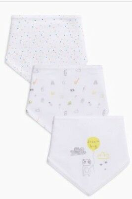 RRP £7 Next unisex 3x Dribble Bibs with dribble proof inner layer white print