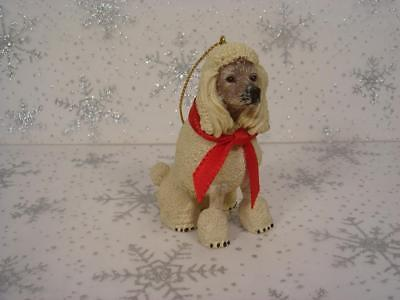 "Realistic White Poodle Dog Red Bow Christmas Ornament 3"" Tall Highly Detailed"