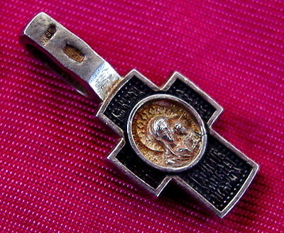 Russian Cross Silver Sterling, Old, Gold Plated Icon Mother Of God Russia, Rare