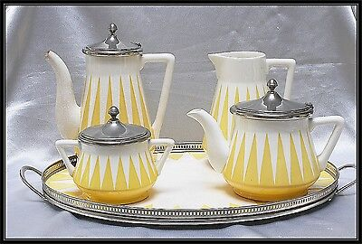 VINTAGE GERMAN  WMF ceramic yellow and white 1920s WMF five piece tea set