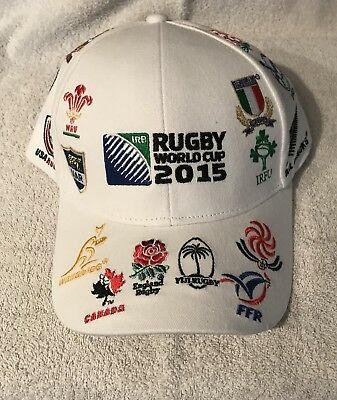 RUGBY ENGLAND 2015 WORLD CUP  20 NATIONS LOGO WHITE Baseball Cap UNISEX
