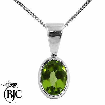 61c4debd6cd0e BJC® 9ct White Gold Natural Peridot Solitaire Drop Oval Pendant   Necklace