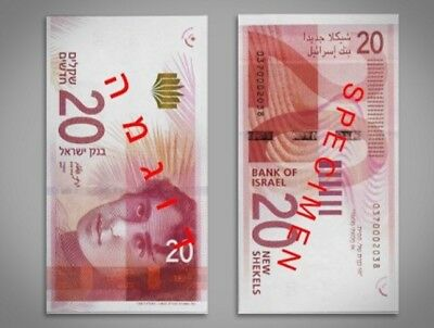 Shekel 20 Israel New Sheqel Nis Banknote Unc Bills Sheqalim 2017 Money Paper