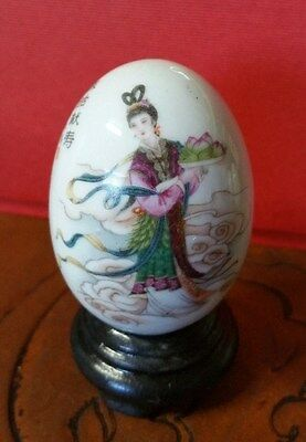 Vintage Hand Painted Asian Girl Ceramic Egg With Stand , Signed By Artist