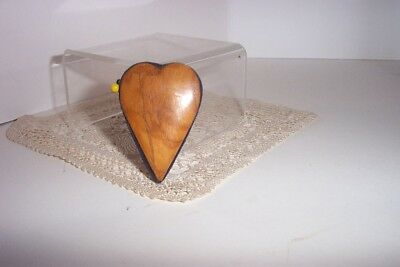 Heart Shaped     Disc Pincushion  Carved Wood Antique