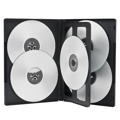 1 Standard 14mm Black Five 5 Disc DVD Cases with Clear Overlay Holds 5 Disc