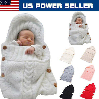 Newborn Baby Knit Crochet Swaddle Wrap Infant Swaddling Blanket Sleeping Bag