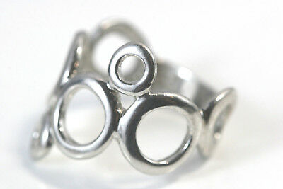 D308 Circles Modernist Sterling 4g 925 Ring size 9