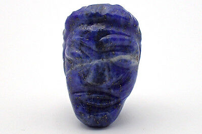 RARE Old Egyptian Natural Lapis Carved Man Face w/Hair IDOL BEAD Pendant #5271