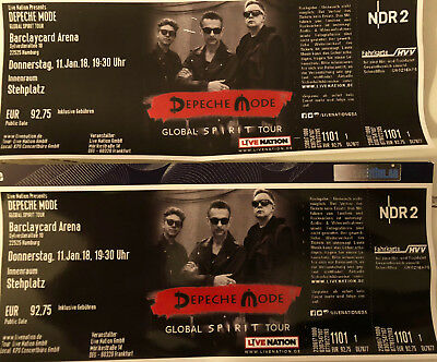 2 tickets depeche mode hamburg o17 reihe 1. Black Bedroom Furniture Sets. Home Design Ideas