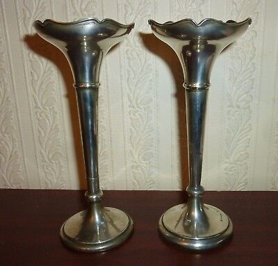 Pair of antique solid sterling silver hallmarked flower bud stem vases 6 inches