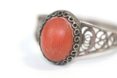 D312 Coral Sterling 800 2g Ring 9 mm size 6 1/2