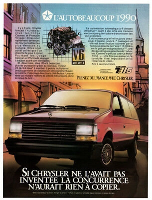 1990 PLYMOUTH Voyager Vintage Original Print AD - Chrysler autobeaucoup canada